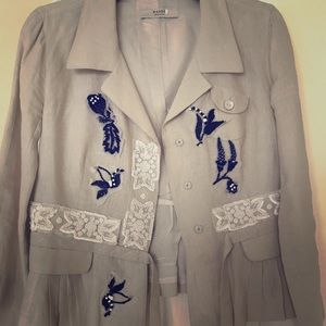 Prada Cream Floral Beaded Embroidered Linen Blazer